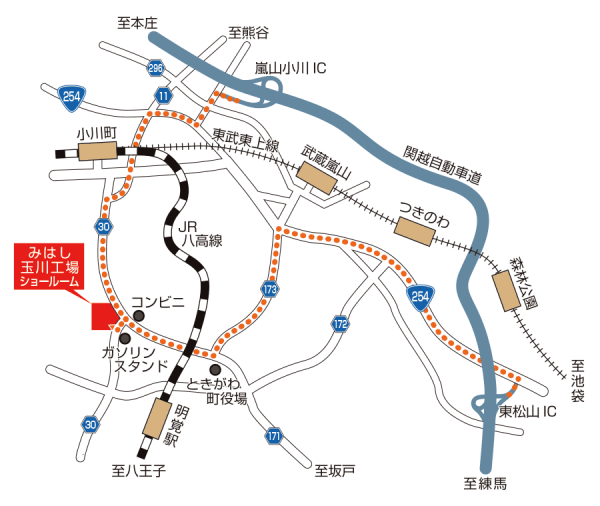 玉川工場内 ショールーム アクセスマップ